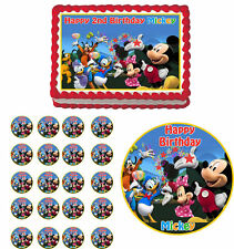 MICKEY MOUSE PLUTO MINNIE Edible Cake Topper Cupcake Image Decoration