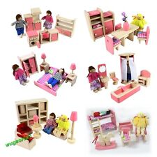 Wooden Dolls House Furniture Miniature 6 Room Set/4 Dolls Kid Christmas Pink