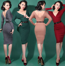 WIGGLE Cocktail DRESS - 1950s Retro Vintage style Pin-Up 4 Colours UK6 -UK12