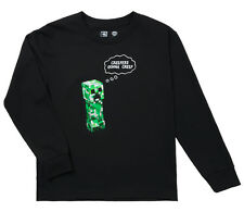 Minecraft Creepers Gonna Creep Licensed Kids Long Sleeve Shirt - Black