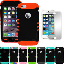 """Black Hybrid Dual Impact Hard Skin Cover Case for iPhone 6 4.7"""" Screen Protector"""