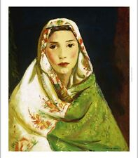 "ROBERT HENRI ""Mexican Girl With Oriental Scarf"" BEAUTY brown composure CANVAS"
