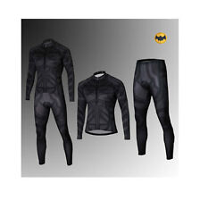 Batman Costume Dark Knight Cycling Suit Bicycle Long Jersey+Pants Sz S-3XL