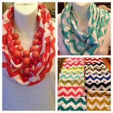 CHEVRON Zig Zag Stripe Jersey Knit Infinity Cowl Scarf Scarves GAME DAY COLORS