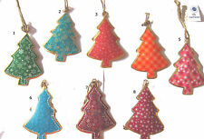 Vintage Chic Traditional Large Metal Hanging Painted Christmas Tree Decoration