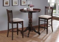 "Wood 30"" Bistro Round Counter Table and 2 Counter Height Stools Dinning Set"