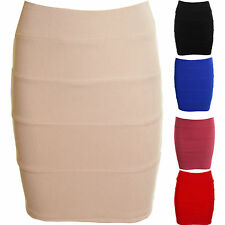 New Ladies Ribbed Bandage Bodycon Stretch Womens Black Red Mini Short Skirt