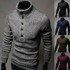 Fashion Casual Mens Slim Fit Pullover Cardigan Sweater Turtleneck Knitwear Tops