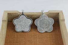 10/30pcs 35*35mm Anti-Silver Flower Shaped Tray Pendant Blank Setting For Cameo