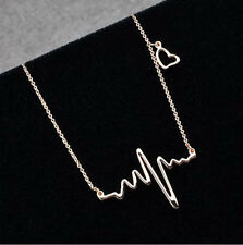 Fashion Cute Heart Beat Pendant Necklace Metal Alloy with Chain Made