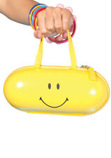 Fun Smiley Happy Face Yellow Pill Zipper Purse Bag For Rave Club Dance Costumes