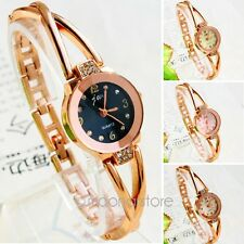Fashion Women's Rose Gold Plated Alloy Timepiece Rhinestone Bracelet Wrist Watch