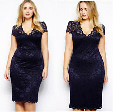 Elegant Women Short Sleeve Lace Bodycon Pencil Skirt Cocktail Celeb Party Dress