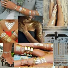 Jewelry Inspired Chain Tattoos Stickers Flash Metallic Gold Silver *US SELLER*