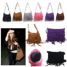 Fashion Tassel Fringe Shoulder Messenger Punk Celebrity Cross Body Handbag Bag
