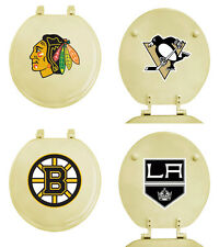 FC313 NHL THEME OFF WHITE BEIGE FINISH MOLDED WOOD ROUND TOILET SEAT COVER LID