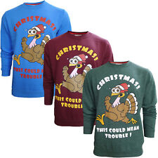 Mens Turkey Christmas Jumper New Winter Pullover Crew Neck Sweater Xmas Gift