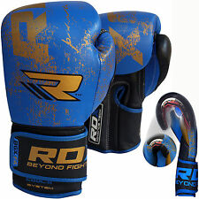 Auth RDX Leather Gel Boxing Gloves Fight,Punch Bag MMA Muay thai Grappling Pad B