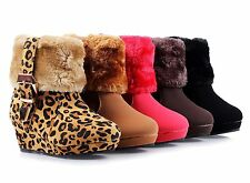 5 Color Faux Fur Zipper Girls Wedge Heels Kids Ankle Boots Youth Pumps Shoes