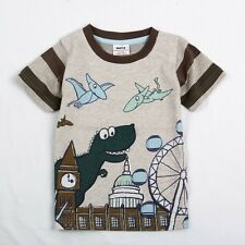 Boys Dinosaur London Eye Big Ben 100% Cotton T-shirt (Only 18-24M left)