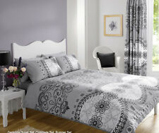 Georgina Grey Double Duvet Cover With 2 Pillow Case Bedding Set