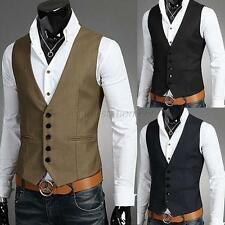 Top Design Men's Slim Button Dress Suit Vest Tuxedo Formal Waistcoat 3Sizes M43