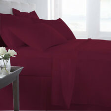 100% EGYPTIAN COTTON ALL BEDDING ITEMS WINE SOLID CHOOSE SIZE&SET