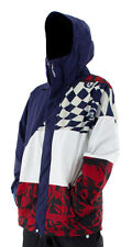 Volcom Johnny Mens Snowboard Snow Ski Jacket White Blue Burgundy
