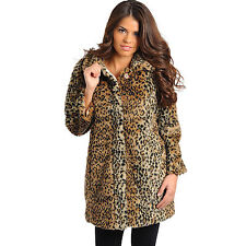 Feellib Women's 3/4 Sleeve Faux Fur Leopard Coat With Animal Print