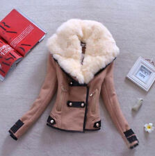 New Women Winter Faux Fur Collar Short Slim Jacket Coat Tunic Outwear Parka Wool