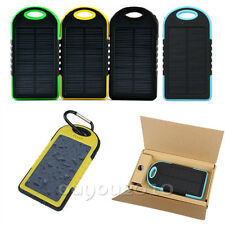 New 5000mAh Waterproof Solar Charger LED USB Power Bank For iPhone Samsung