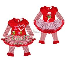 Baby Girl Xmas Fancy Top Candy Cane Tutu Dress Legging Pants Outfit Set Clothes