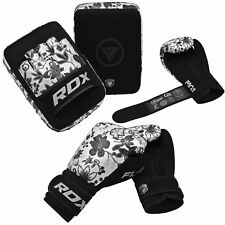 Auth RDX Leather Gel Boxing Gloves Fight,Punch Bag MMA Muay thai Grappling Pad W