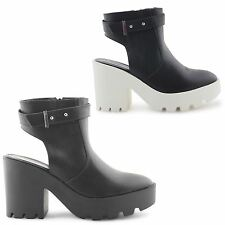 WOMENS LADIES CHUNKY CLEATED SOLE HIGH HEEL PLATFORM BOOTS SHOES SANDALS SIZE