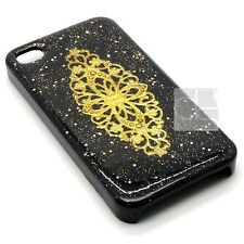 SS Indian Tikka Gold Glitter Bling Black Hard Skin Case Cover For Samsung iPhone