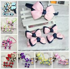 5pcs cute candy color bowknot kids hair circle hairpin Accessories gift for girl