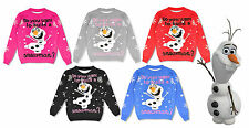Childrens Boy Girls Christmas Xmas 3D Novelty Olaf Frozen Kids Snowman Jumper