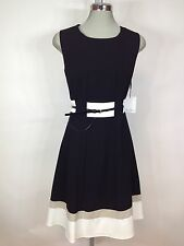 Calvin Klein NEW Elegant Black with Ivory and Beige Striped Bottom Belted Dress