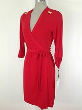 Calvin Klein NEW with Tags Red Dress with fully wrap and long sleeves E Z Fit