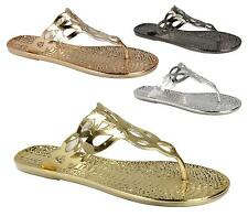 Ladies Womens Metallic Snake Flat Jelly Flip Flop Gladiator Summer Sandals