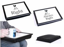 MR RIGHT & MRS ALWAYS RIGHT BEAN BAG PADDED CUSHION LAP TRAY SERVING XMAS GIFT