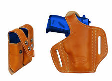 NEW Barsony Tan Leather Pancake Gun Holster + Mag Pouch Cobra, EAA 22 25 380