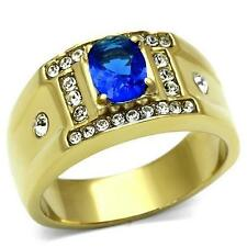 Men's Oval Cut Blue Montana Blue Sapphire CZ Gold Plate Stainless Steel Ring