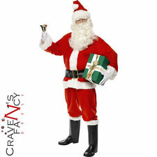 Adult Deluxe Father Christmas Santa Claus Suit Mens Fancy Dress Xmas Costume