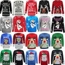 KIDS XMAS Unisex Boys Girls Reindeer Rudolph Snowman Christmas Jumpers 3-12 Yr