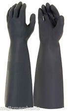 "Black Latex Gauntlets 18"" Gloves Industrial Long Sleeve Natural Rubber PPE CAT3"