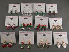 Christmas holiday lightweight dangle earrings painted jewelry