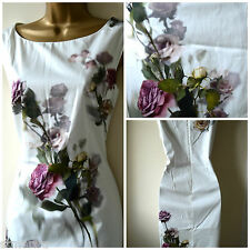 NEW PHASE EIGHT SHIFT DRESS PENCIL FLORAL CREAM PINK GREEN SIZE 8 10 12 14 16 18