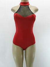 NEW One Piece Red Bodysuit Button Choker Mesh Open Back Padded Sz S M L