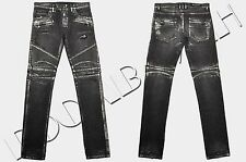 BALMAIN New Sold-Out Rare Black Japanese Denim Silver Wax Biker Jeans